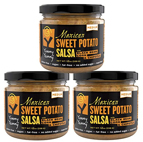 Yummy Yammy Mexican Medium Salsa-Not-Salsa with Roasted Sweet Potato, Black Bean, Corn & Chipotle - 3 Jars - Best for Nachos, Eggs, Burgers, Burritos, Rice Bowl