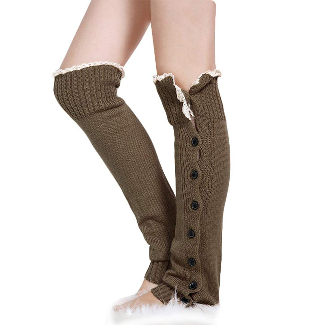 Womens Knitted Leg Warmers Button Lace Trim
