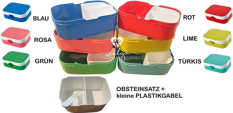 wolga-kreativ Brotdose Obsteinsatz Bento Box und Trinkflasche auslaufsicher BPA frei f/ür Kinder Rosti Mepal f/ür M/ädchen Jungen Maus Luftballon personalisiert mit Namen Lunchbox Brotbox mit F/ächern