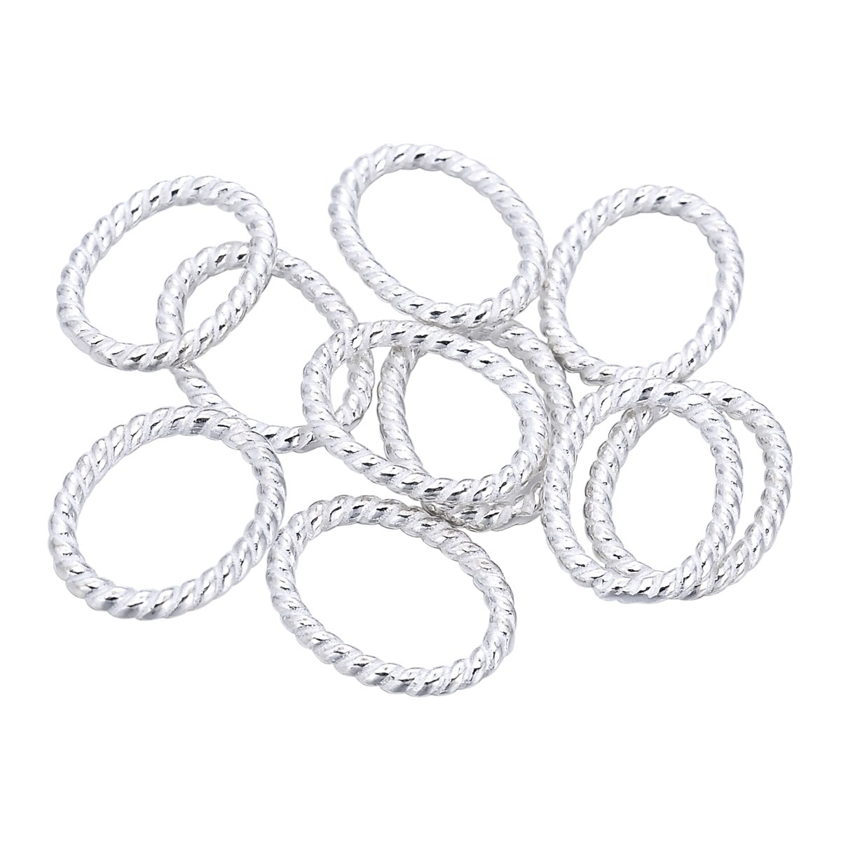10PCS 925 Sterling Silver Round Twist Jump Ring Connector for Jewelry Making Findings 9mm ValyriaUK SGto-B285122