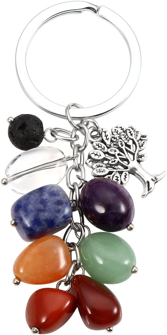 Manifo - Llavero de 7 chakras con piedra preciosa de cristal natural con colgante de árbol de la vida de piedra de lava, llavero de curación Reiki