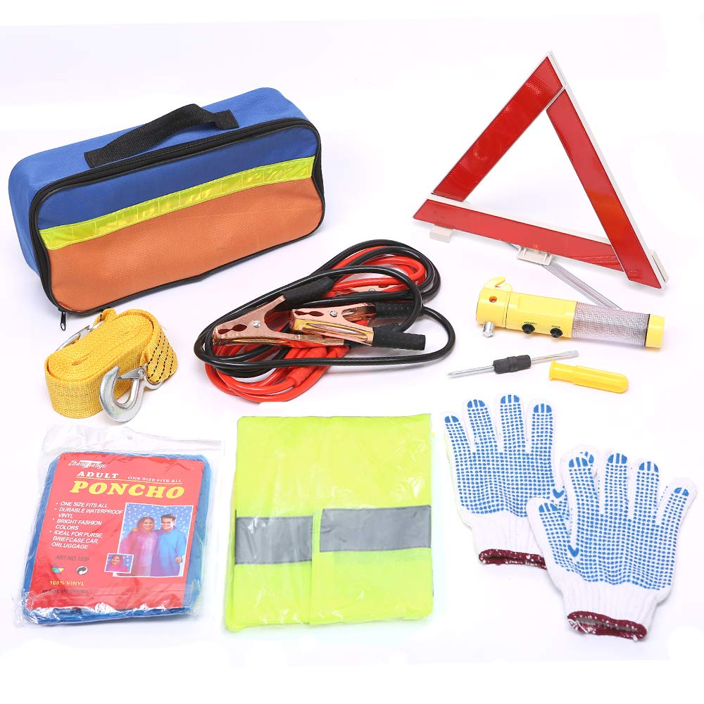 TourKing Car Emergency Kit, Set of 9pcs Safety Driving Kit, Warning Triangle Tools,Tow Rope,Auto Safety Road Assistance Kit