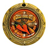 Decade Awards Gold Chili Cook-Off World Class Medal with Red, white & blue v-neck ribbon/Chile Cook Off (Gold)