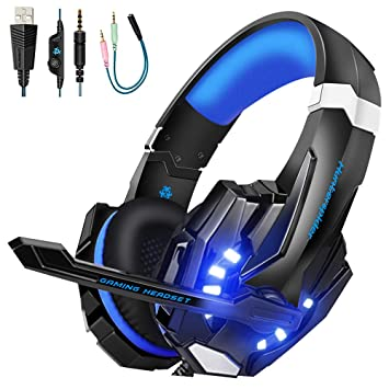Gaming headset PS4,Hunterspider PC headset Over-Ear Headphone Stereo with  Mic LED Lighting for Laptop Mac Nintendo Switch New Xbox One with 3 5mm