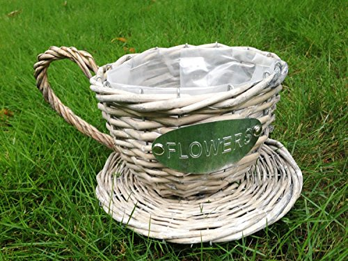 BIG Sale! Handmade Wicker Coffee Cup Shaped Basket or Planter for Indoor Use (Weathered Grey Color)