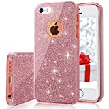 iPhone 5s/5 Case, MILPROX for Girls Shiny Glitter CASE [Bling Crystal Clear][Extremely Sparkling], Slim Premium 3 Layer Hybrid, Anti-Slick/Protective/Soft Case, iPhone SE Case- Pink