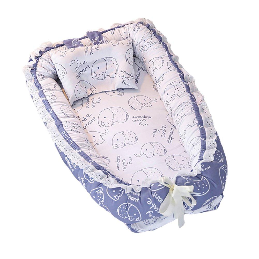 ETbotu Baby Detachable Mattress Baby Nest Newborn Babynest Sleep Bed Blue Baby Elephant 905515CM