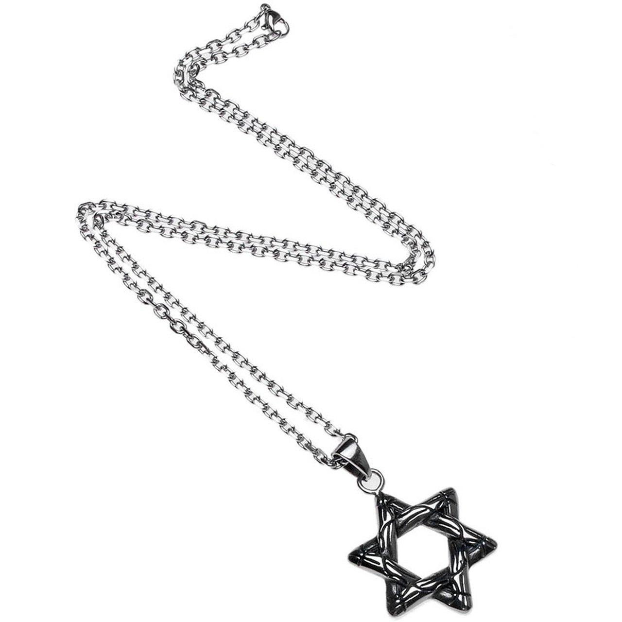 JOVIVI Anhänger Punk Edelstahl Retro David-Stern Anhänger mit 55cm Kette, Halskette für Damen & Herren, Silber