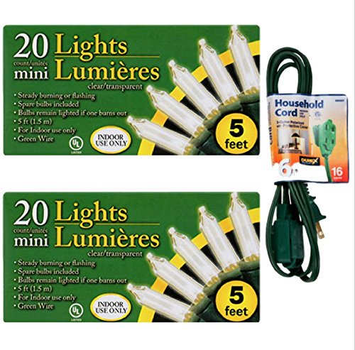 (20-Bulb Indoor Clear Christmas Light Sets, 5-ft. Strands (2) )