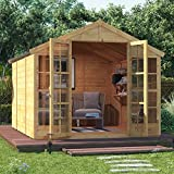 BillyOh 10x8 Harper Tongue and Groove Traditional Garden Summerhouse Apex Roof & Felt 10FT x 8FT