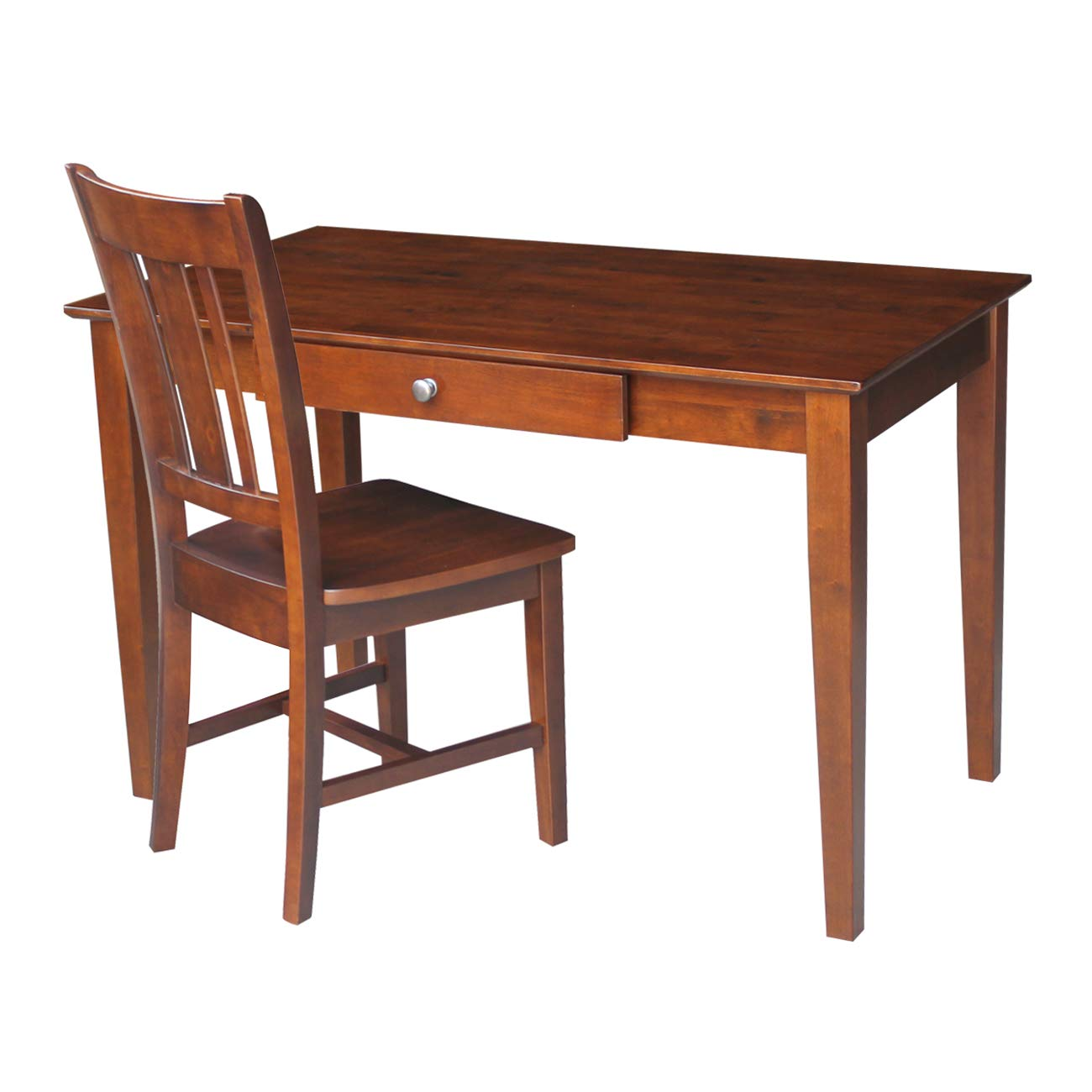 Espresso Finish International Concepts Basic Desk with Drawer and Chair