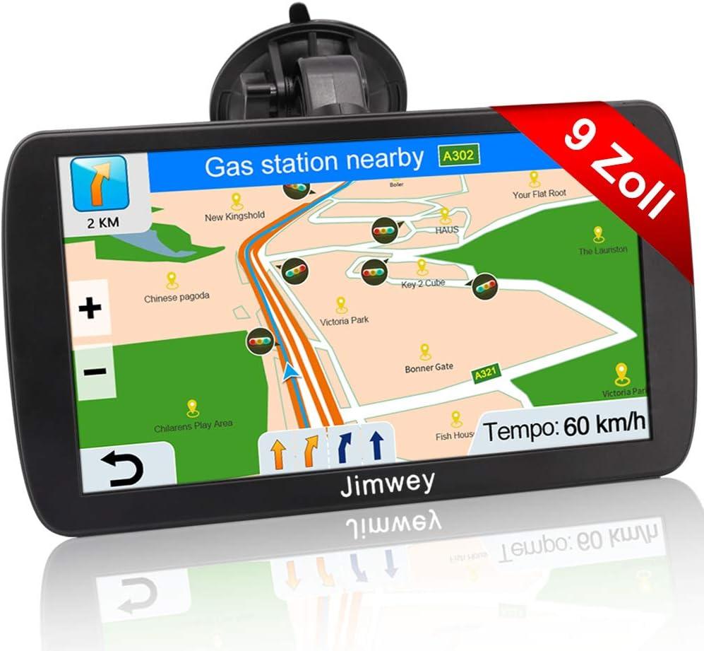Jimwey Navigationsgerät Für Lkw Auto Navigation Gps Navi Navigationssystem 9 Zoll 16gb Lebenslang Kostenloses Kartenupdate Mit Blitzerwarnung Poi Sprachführung Fahrspur 2020 Europa Uk 52 Karte Navigation