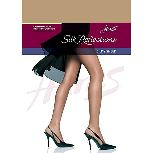 """2 Pair """"little Color"""" Hanes Silk Reflections Control Top Pantyhose Size Cd"""