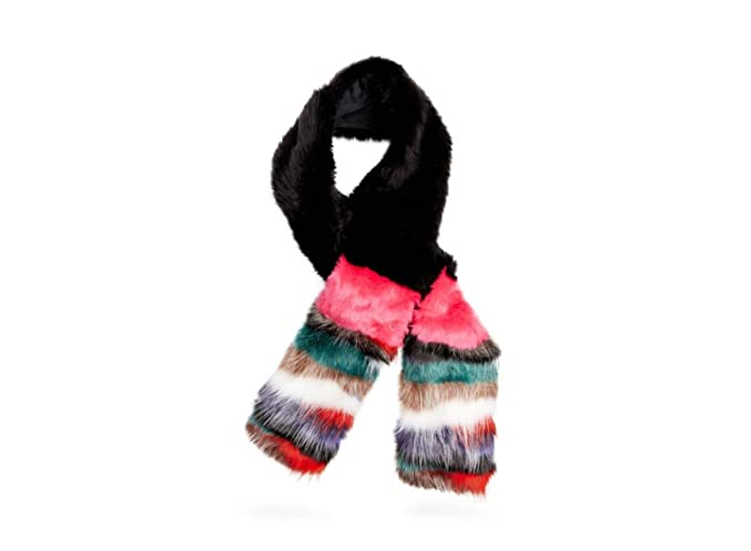 e570c7d01191 Steve Madden Women s Mixed Patch Faux Fur Stole with Striped Ends ...