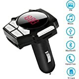 Bluetooth FM Transmitter, Wireless Radio Adapter Car Kit by Kulussy with 1.4'' Display 5V 2.4A USB Car Charger MP3 Player TF/Micro SD Card Slot AUX Input-Black