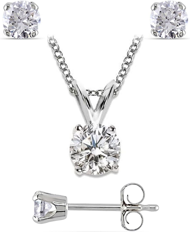 Joyería del diamante había situado 1/2 quilates en diamantes oro blanco pendientes ct 0,3 y 0,2 ct diamante colgante.