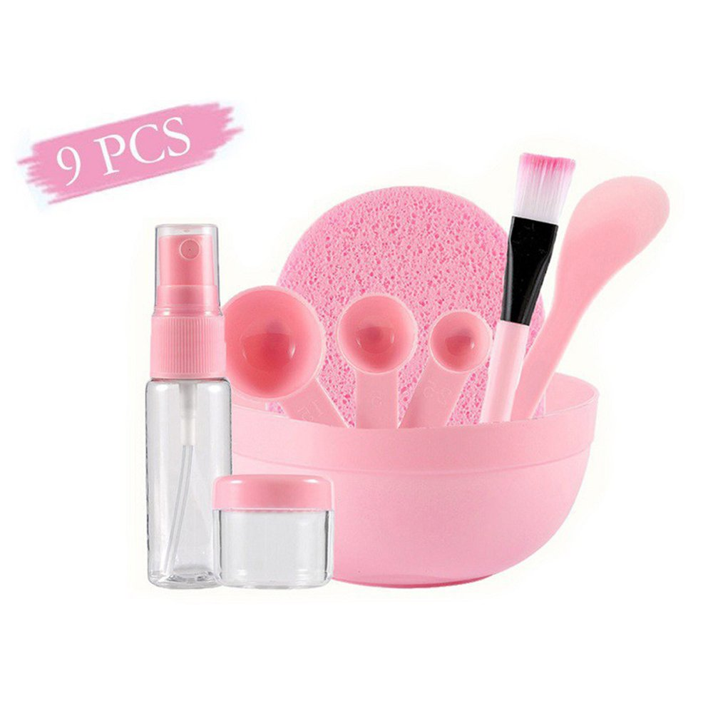 9 in 1 Face Mask Mixing Bowl Set,Women Facial Care Mask Mixing Tool Set,Stick Brush Measuring Spoon Soaking & Spray Bottle Bowl Set Pink FJROnline