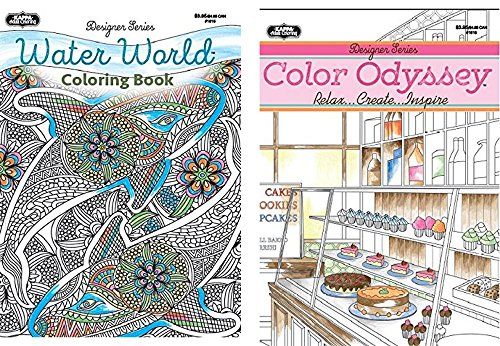 Adult Coloring Books: 2 Books and BONUS Color Pencils - Featuring Intricate Patterns (Color Odyssey and Water World w/ Colored Pencils)