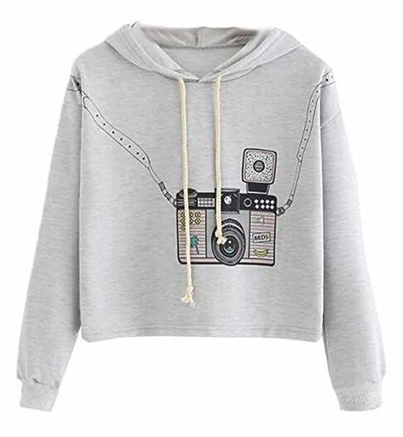 c933a0704ec JINTING Drawstring Hooded Crop Sweatshirt Womens Long Sleeve Pullover Crop  Top Hoodie Cute Graphic Crop Top
