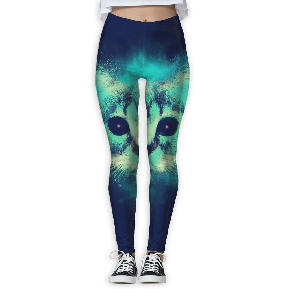 Womens Fantasy Cat Head Thin Tight Athletic Yoga Pants Leggings
