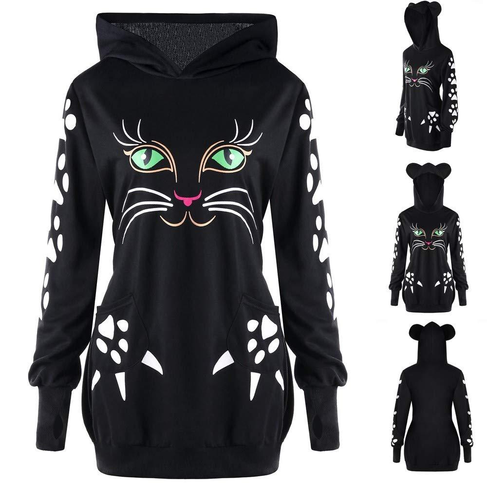 Rambling Womens Girls Cute Cat Print Hoodie with Ears Pullover Long Sleeve Kangaroo Pouch Sweatshirts Hoody