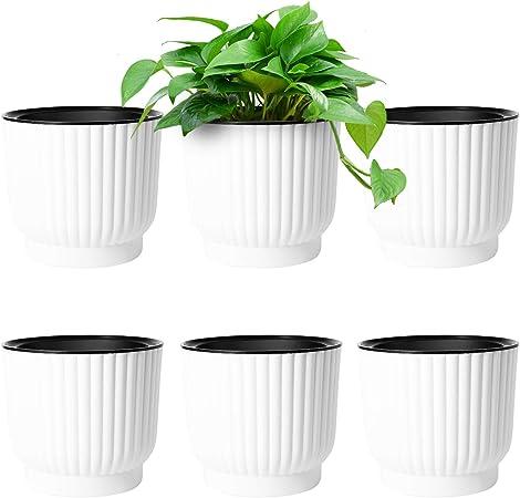 """10 x Flower Pots 6/"""" 4.75 Plastic Plant Pots"""