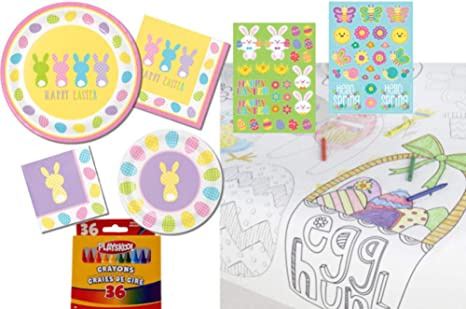Amazon.com: Kids Easter Table Coloring Activity Party Supply Pack ...