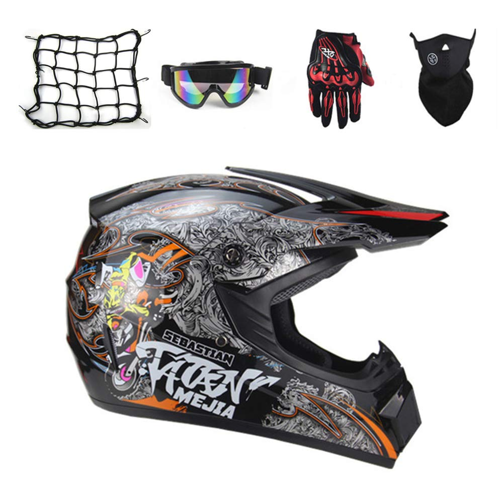 Black//Graffiti Off Road Full Face Crash Helmets Enduro Quad MTB Downhill ATV for Men Women 5 Pcs MRDEAR Adult Motorcycle Motocross Helmet//Goggles//Gloves//Mask//Helmet Net