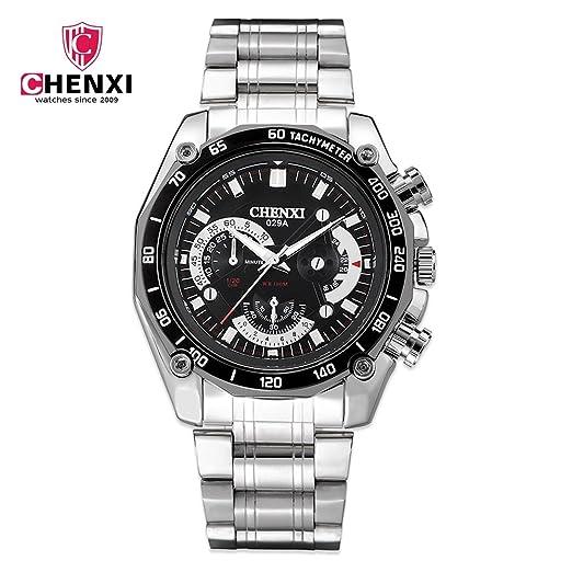 SJXIN Reloj Elegante CHENXI Reloj de Acero Impermeable para Hombre Reloj Deportivo 029A Relojes de Moda (Color : 1): Amazon.es: Relojes