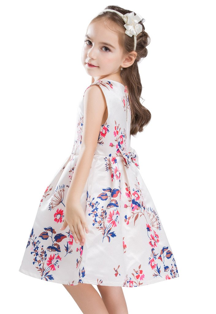 Buenos Ninos Little Girl's Sleeveless Flower Printed Pleated Party Dress for Kids Playwear 3-8T Beige XL