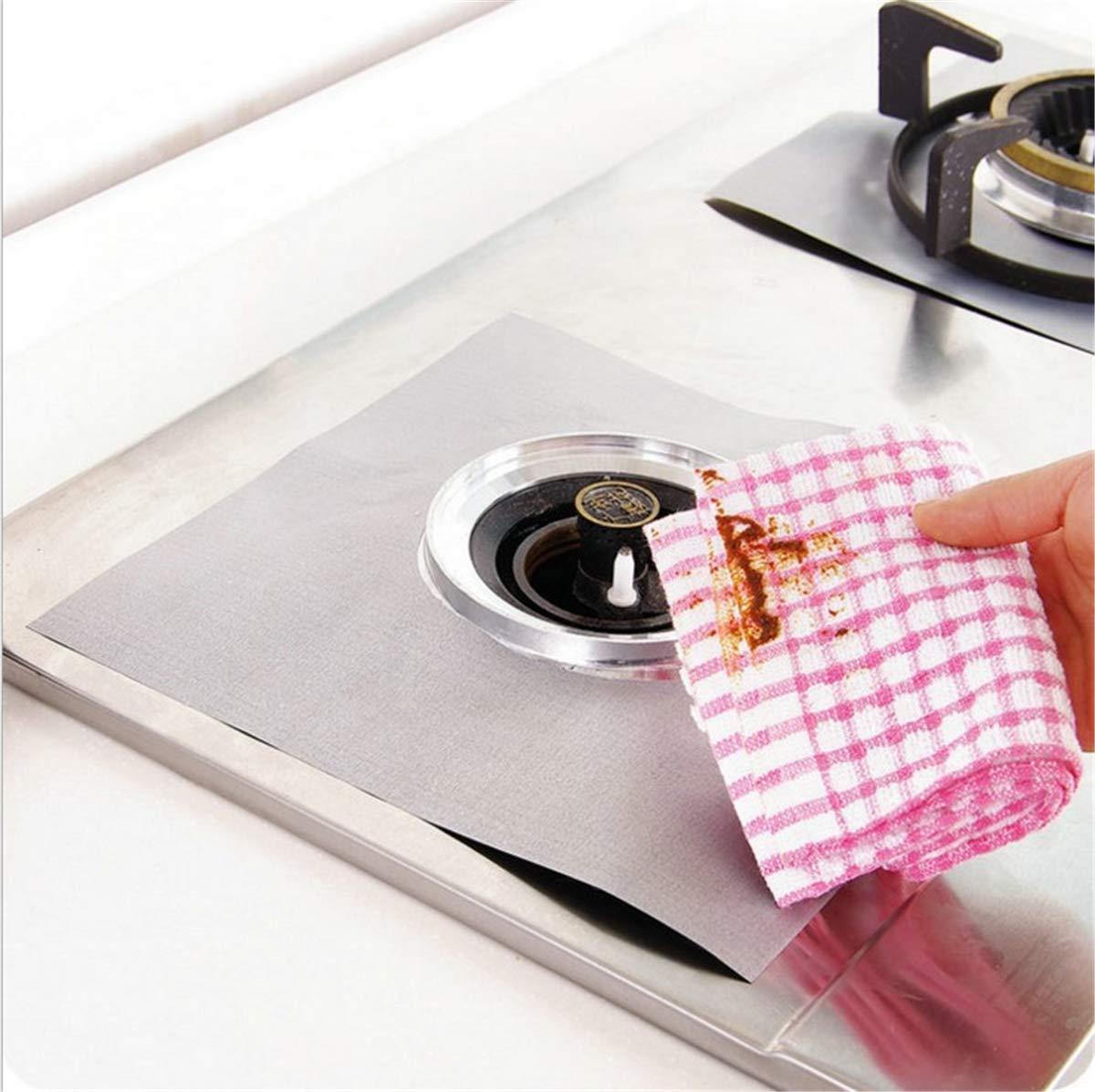 10.6x10.6 Plateado BrilliantDay Protectoras para Hornillos de Gas Limpieza de Herramientas de Cocina,Forro Protector de Cocina de Gas 8 PCS Protectores Antiadherentes Estufa a Gas