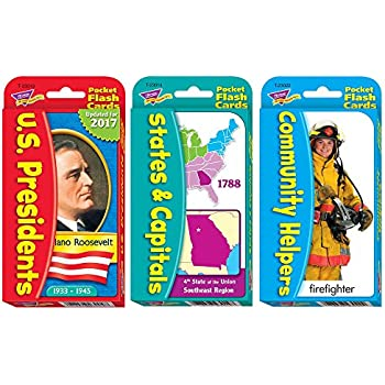 AJPSales U.S. Presidents, States And Capitals And Community Helpers Flash Card Set - Ages 6 To Adult - 168 Cards Total - Perfect For School, Home And Teaching
