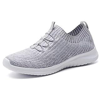 LANCROP Women's Athletic Walking Shoes - Casual Knit Lightweight Running Slip On Sneakers 5 US, Label 35 Grey