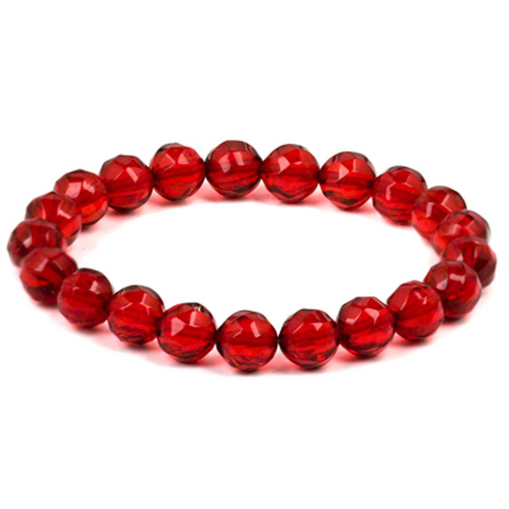 Red Amber Faceted Round Beads Bracelet Length 7.5 Inches