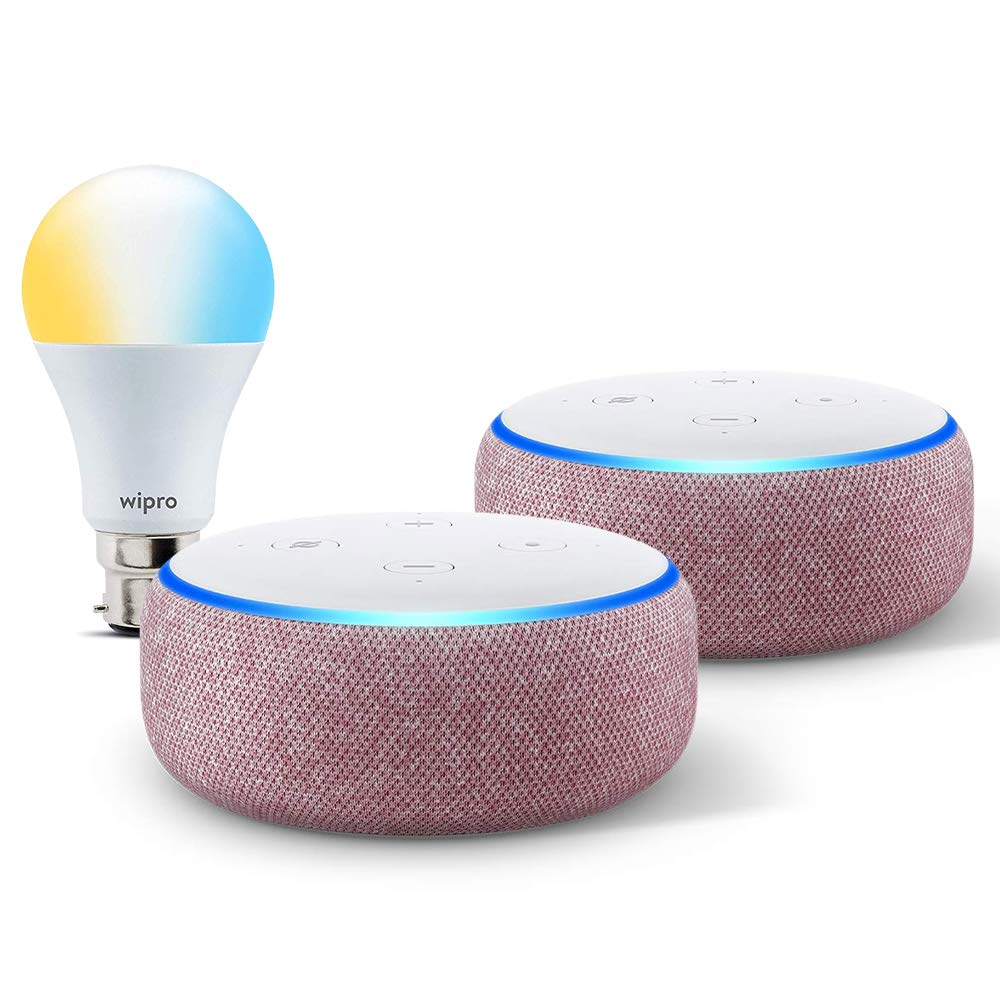 [Apply coupon] Echo Dot gift twin pack (Purple) with Wipro smart white bulb