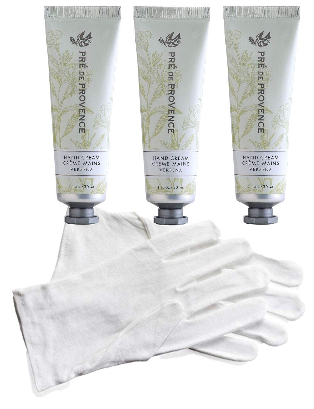Three (3) Tubes Pre de Provence 1 Ounce Shea Butter Hand Creams - Verbena PLUS 1 Pair White Cotton Gloves for Overnight Moisturization