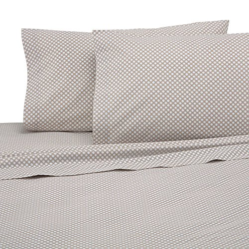 Martex T225 Bed Sheet Set - Brushed Cotton Blend, Super Soft Finish, Wrinkle Resistant, Quick Drying,  Bedroom, Guest Room  - Khaki Geo Print