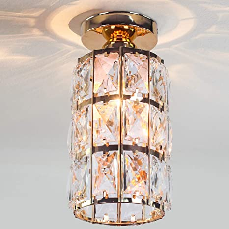 Amazon Com Cainjiazh Mini Crystal Chandelier Flush Mount Modern Decor E27 Bulb Base 4 7 Inch Diameter Round Gold Plated Lamp Ceiling Lights Fixture For Hall Closet Bedroom Living Room Kitchen Dining Room Home