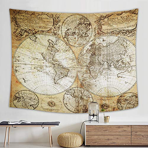 - Flymall World Map Tapestry, Tapestry Wall Hanging for Wall Art Home Decor Bedspread Beach Towels Blanket Picnic Mat(59
