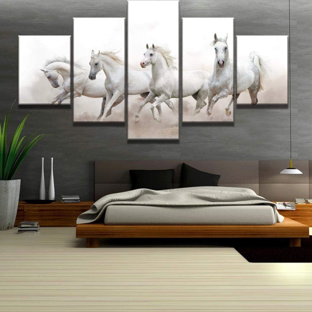 XiaoHeJD Cuadro de 5 Piezas Arte de Lienzo Caballos árabes Blancos Modernos Pinturas Decorativas en Lienzo Arte de Pared para Decoraciones para el hogar Decoración de Pared, M