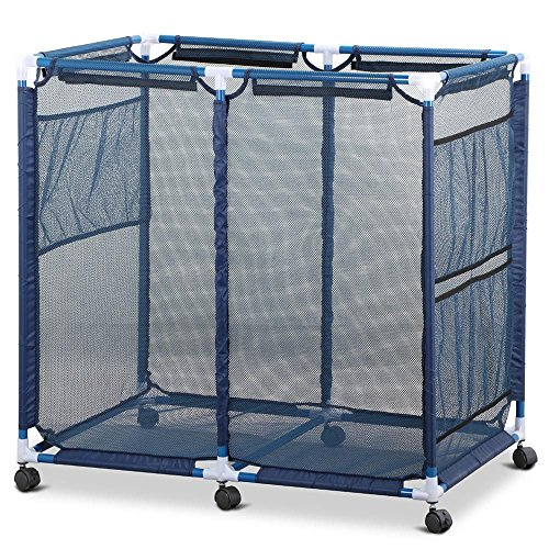 Yaheetech Durable Pool Storage Bin Swim Beach Cart Mesh Basket for Storing Swim Goggles/Beach Balls/Floats/Swim Toys,35.8 x 24 x 35.8'' (LxWxH)