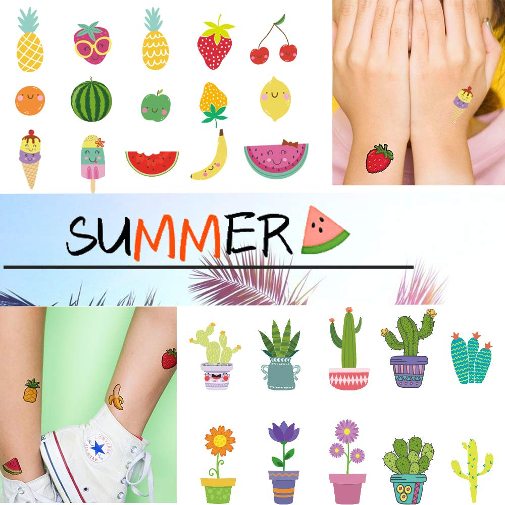 Ooopsi Fruit Temporary Tattoos for Kids - More Than 160 Tattoos (15 Sheets) - Waterproof Cartoon Summer Tattoos Sticker for Children Birthday Party Favors