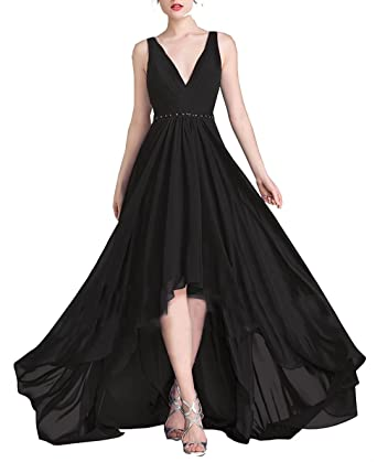 RJOAM Asymmetrical Prom Dresses Chiffon Wedding Party Dresses With Beaded Belt 2018 - Black - 16