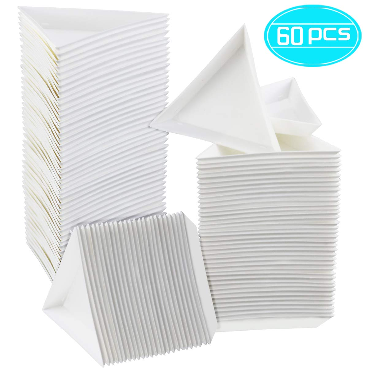 Faxco 60 PCS Plastic White Triangle Sorting Trays Painting Pigment Tray Triangle Beads Plate Plastic Art Storage Plate Jewellery Triangle Tray