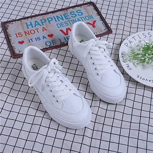 de Zapatos Blanco Salvajes Zapatos Estudiante Microfibra y del seven Mujer Cinco de Treinta Thirty Blancos Tendencia WFCAYDHN Baja 4xwzn