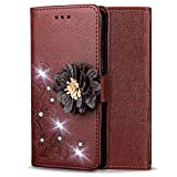 Shinyzone Leather Wallet Case for Samsung Galaxy Note 9,Elegant Embossed Flower Bling Diamond Pattern Flip Cover with Card Slots Magnetic Closure Stand Cover for Samsung Galaxy Note 9,Brown