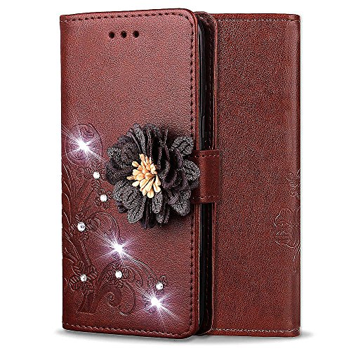 - Shinyzone Leather Wallet Case for Samsung Galaxy J7 2018,Elegant Embossed Flower Bling Diamond Pattern Flip Cover with Card Slots Magnetic Closure Stand Cover for Samsung Galaxy J7 2018,Brown