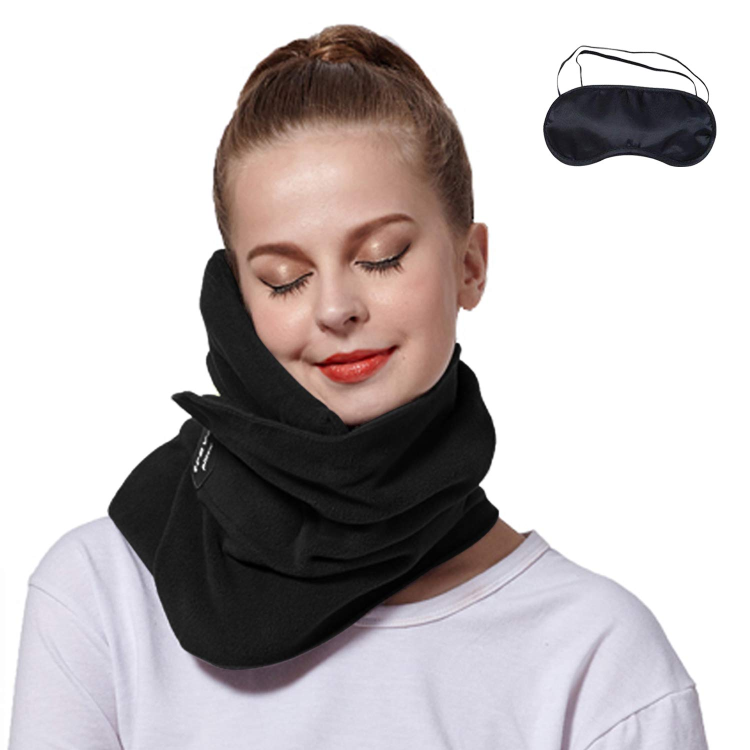 Travel Neck Pillow Plus Eye Mask, JingXiGuoJi Scientifically Proven Super Soft Neck Head Chin Support Nap Trips Pillows for Office, Planes, Air, Car, Bus, Train Long Road Trips, Machine Washable, Black