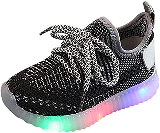 LED Trainer Running Sneakers Leather Sport Shoes 1-6T Little Kids Toddler Baby Boys Girls Rubber Sole Light Up Crib Shoes