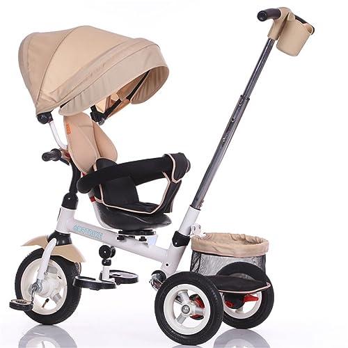 Mode pliable Enfant Tricycle Enfant Chariot Poignée Poignée Stoller Vélo avec Auvent Anti-UV et Poignée Parent | pour 1-3-6 ans Garçon et Fille Bébé | Sièges rotatifs |
